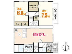 ディアコート亀山南A 1階2LDKの間取り
