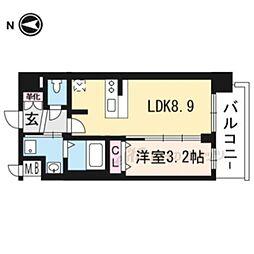 京都市営烏丸線 十条駅 徒歩5分の賃貸マンション 3階1LDKの間取り