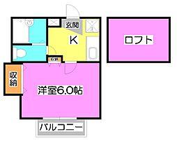 クレスト1[1階]の間取り