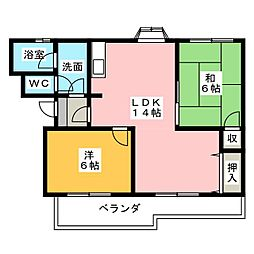 コーポ石田[1階]の間取り