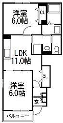 北海道札幌市西区発寒七条14丁目の賃貸アパートの間取り
