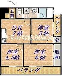 大阪府大阪市旭区新森7丁目の賃貸マンションの間取り