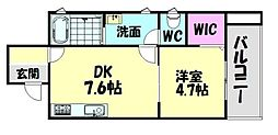 南海線 北助松駅 徒歩7分の賃貸アパート 2階1DKの間取り
