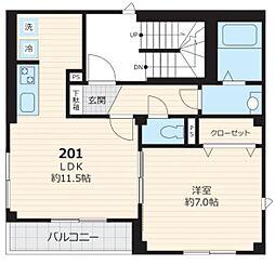 東京メトロ南北線 白金台駅 徒歩12分の賃貸マンション 2階1LDKの間取り