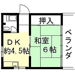 岐阜県岐阜市長良の賃貸アパートの間取り