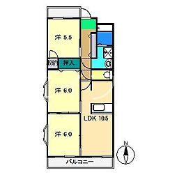 パールリバー[3階]の間取り