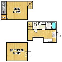 福岡県福岡市中央区春吉2の賃貸アパートの間取り