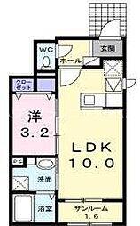 JR山陽本線 西広島駅 徒歩18分の賃貸アパート 1階1LDKの間取り