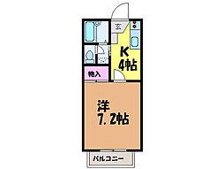 愛媛県松山市立花2丁目の賃貸アパートの間取り