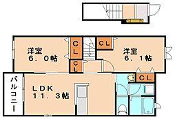 Rグレィ イイヅカ チュウオウ[2階]の間取り