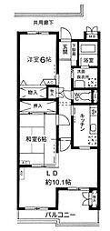 東京都世田谷区大蔵1丁目の賃貸マンションの間取り