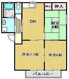 ヴィリジアン・ガーデンD・F・G[2階]の間取り
