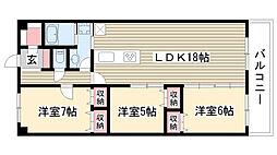 愛知県名古屋市名東区にじが丘2丁目の賃貸マンションの間取り