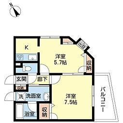 新潟県新潟市中央区上大川前通6番町の賃貸マンションの間取り