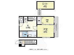 京王相模原線 調布駅 バス10分 山野下車 徒歩5分の賃貸アパート 2階2DKの間取り