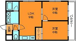 奈良県香芝市五位堂2丁目の賃貸マンションの間取り