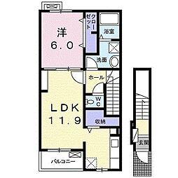 西武新宿線 入曽駅 徒歩21分の賃貸アパート 2階1LDKの間取り