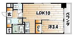 LE GRAND BLEU DEUX(グランブルードゥ)[6階]の間取り