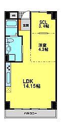 エトワール 4階1SLDKの間取り