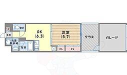 JR東海道・山陽本線 京都駅 徒歩13分の賃貸マンション 1階1DKの間取り