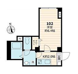 東京メトロ銀座線 末広町駅 徒歩4分の賃貸マンション 1階1Kの間取り