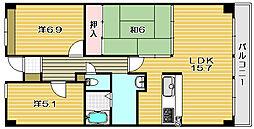 大阪府茨木市元町の賃貸マンションの間取り