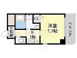 阪急京都本線 上新庄駅 徒歩6分の賃貸マンション 5階1Kの間取り