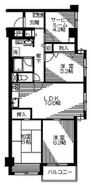 小金井グリーンハイツ[3階]の間取り