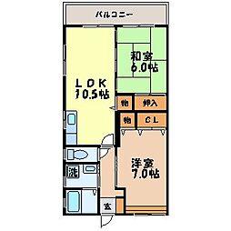 長崎県長崎市赤迫2丁目の賃貸マンションの間取り