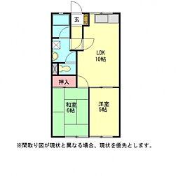 愛知県一宮市大和町妙興寺字横道の賃貸アパートの間取り