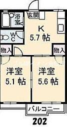 岡山県倉敷市粒浦丁目なしの賃貸アパートの間取り