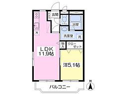パークマンション旭駅前II 2階1LDKの間取り