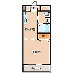 JR東海道・山陽本線 立花駅 徒歩8分の賃貸マンション 2階1DKの間取り