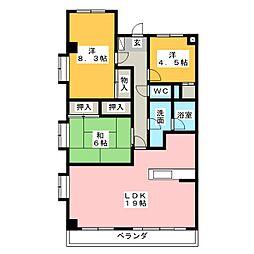 プロクシィスクエア丁田[3階]の間取り