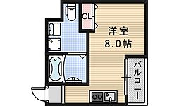 南海線 粉浜駅 徒歩4分の賃貸マンション 7階ワンルームの間取り