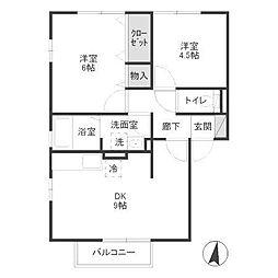 セジュール鶴園[2階]の間取り