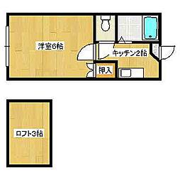 福岡県北九州市八幡西区力丸町の賃貸アパートの間取り