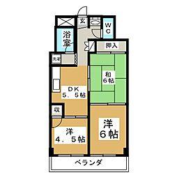 五橋ニューレジデンス[4階]の間取り
