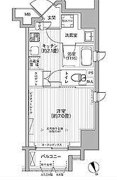 都営浅草線 大門駅 徒歩10分の賃貸マンション 2階1Kの間取り