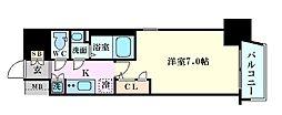 Osaka Metro四つ橋線 肥後橋駅 徒歩7分の賃貸マンション 12階1Kの間取り