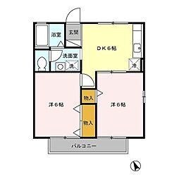 東京都八王子市東浅川町の賃貸アパートの間取り