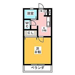 コーポ金田[1階]の間取り