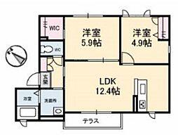 JR宇野線 備前西市駅 徒歩19分の賃貸アパート 1階2LDKの間取り