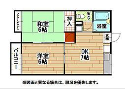 福岡県北九州市小倉北区篠崎2丁目の賃貸アパートの間取り