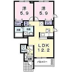 ラ・フランセ C[1階]の間取り