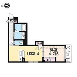 JR山陰本線 円町駅 徒歩7分の賃貸マンション 1階1LDKの間取り