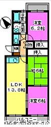 福岡県福岡市中央区谷2丁目の賃貸マンションの間取り