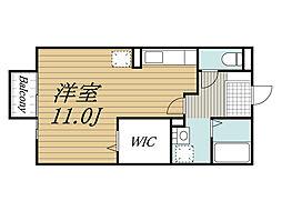 京成本線 公津の杜駅 徒歩22分の賃貸アパート 2階ワンルームの間取り