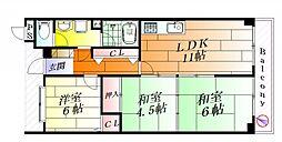 クリスタルコート東正雀[4階]の間取り