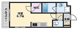 阪神本線 甲子園駅 徒歩20分の賃貸マンション 3階1Kの間取り
